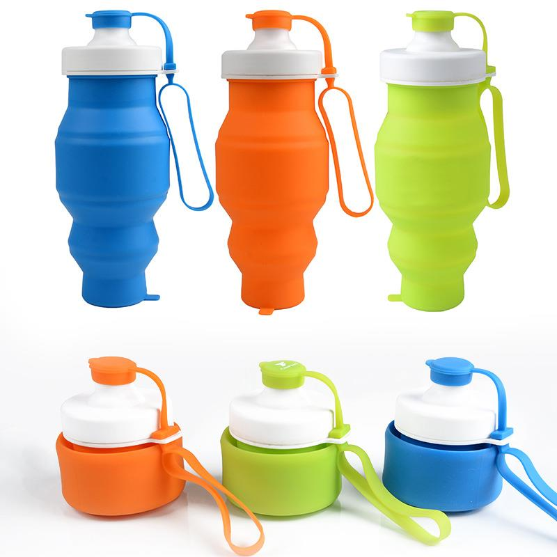 Good quality outdoor sports resistant folding silicone water bottle for wholesale