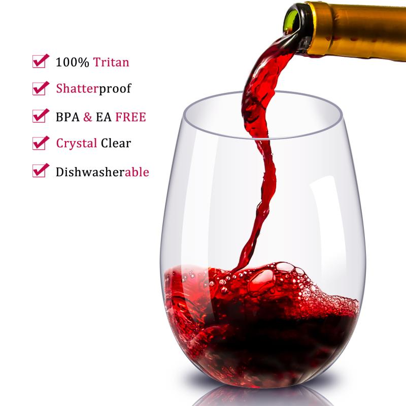 Plastic Wine Glasses Unbreakable Reusable Stemless Glass