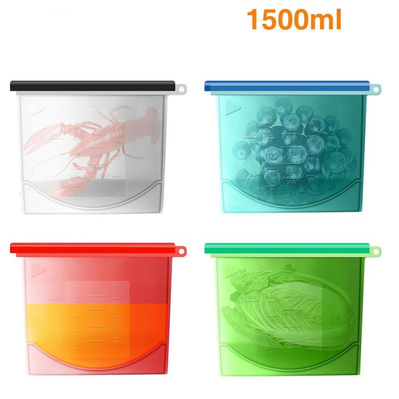 2018 Amazon Reusable Vacuum Eatable BPA Free Vacuum Keep Fresh Grade Vegetable Preservation Container Silicone Food Storage Bag