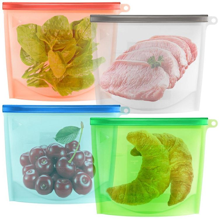 Wholesale 1500ml large fda silicone reusable food safe storage bag
