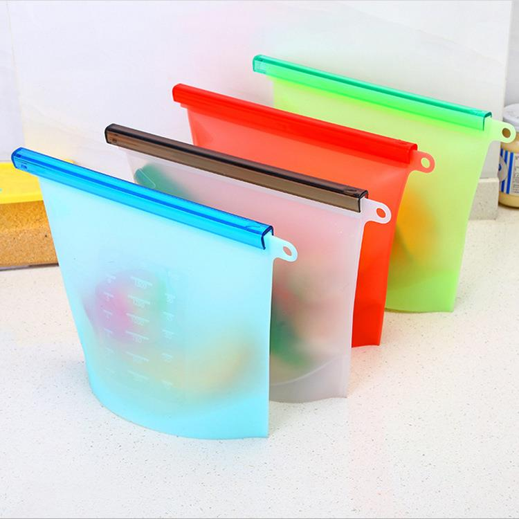 Custom 1000ML reusable silicone food storage bag