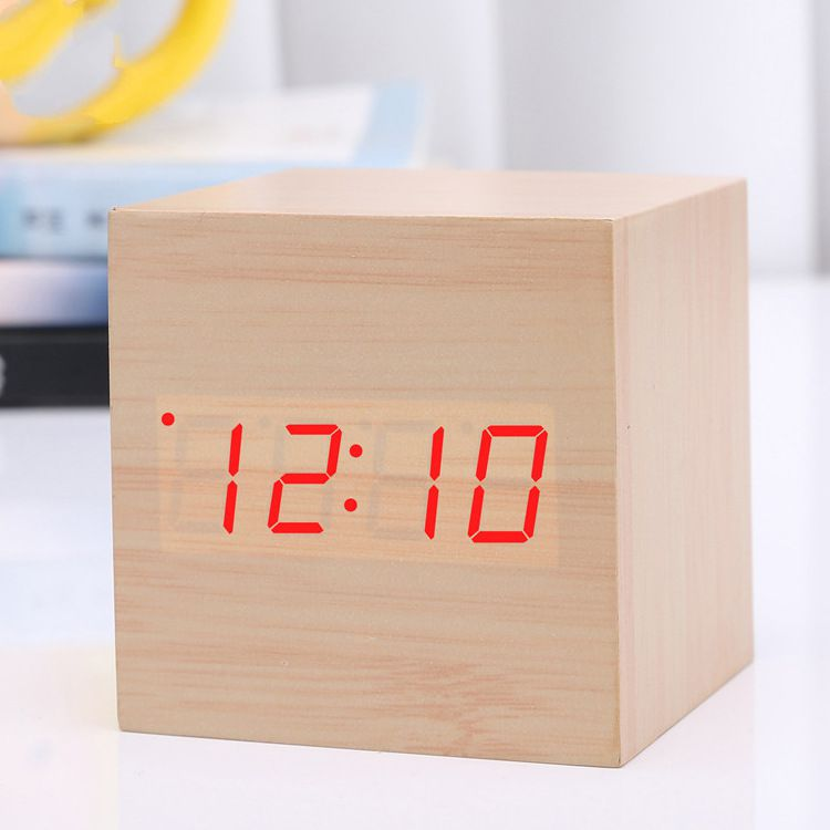 Wood Wooden Cube Digital LED automic clock Light Desk Alarm Clock USB Timer Temperature Voice Sound Control Antique Table Clock