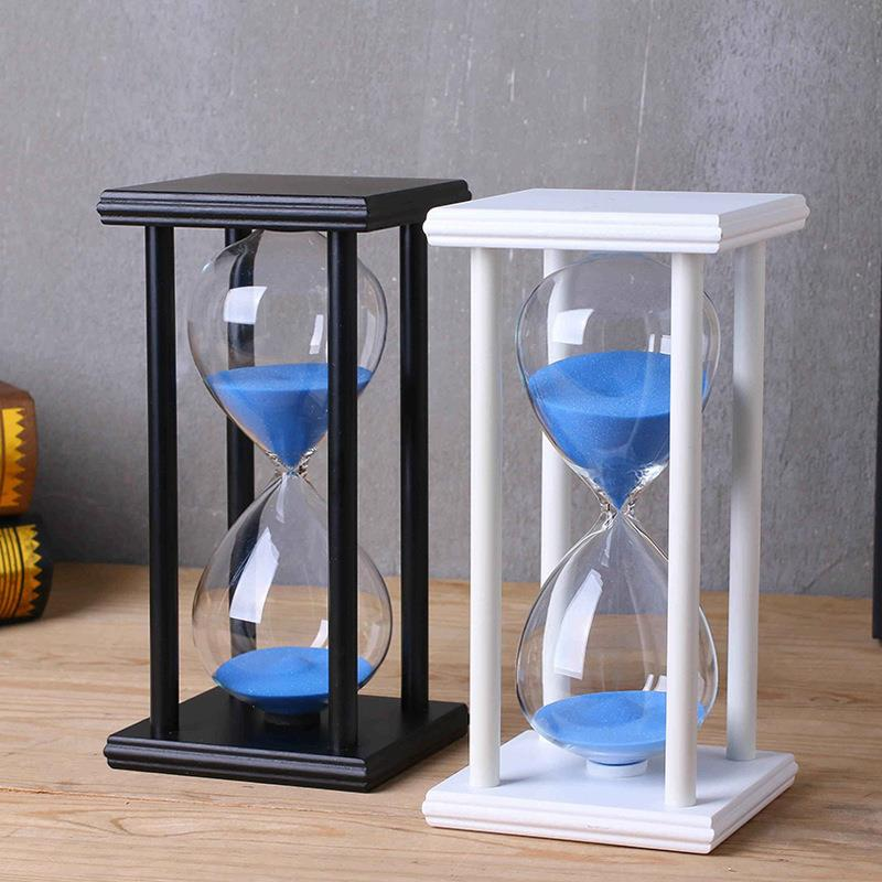 Amazon Hot Sell Hourglass Timer 30/60 Minutes Wood Sand Clock