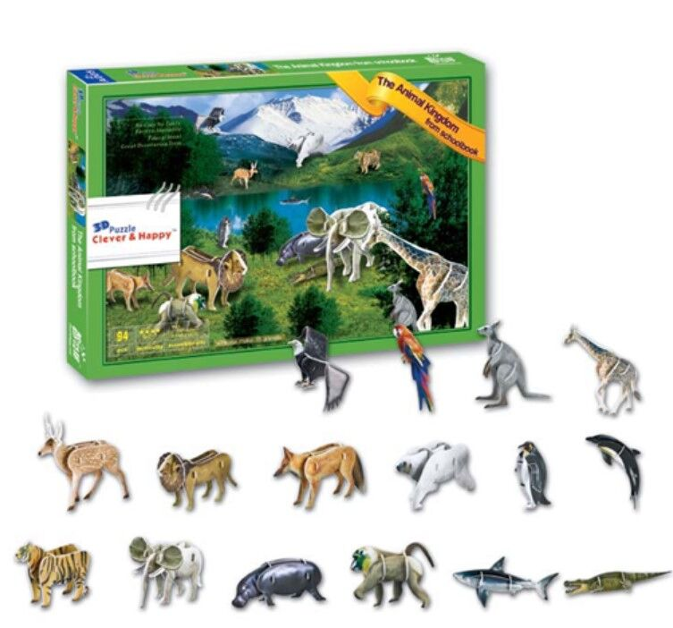 Develop children thinking happy kingdom mini 3d cartoon animal puzzle