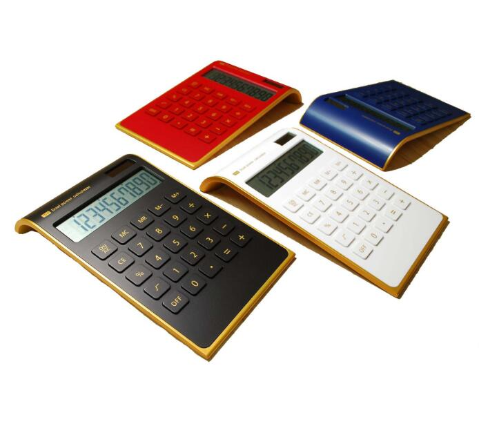 Promotional Golden Border Electronic Calculator Wholesale Thin Citizen Solar Calculator For Office