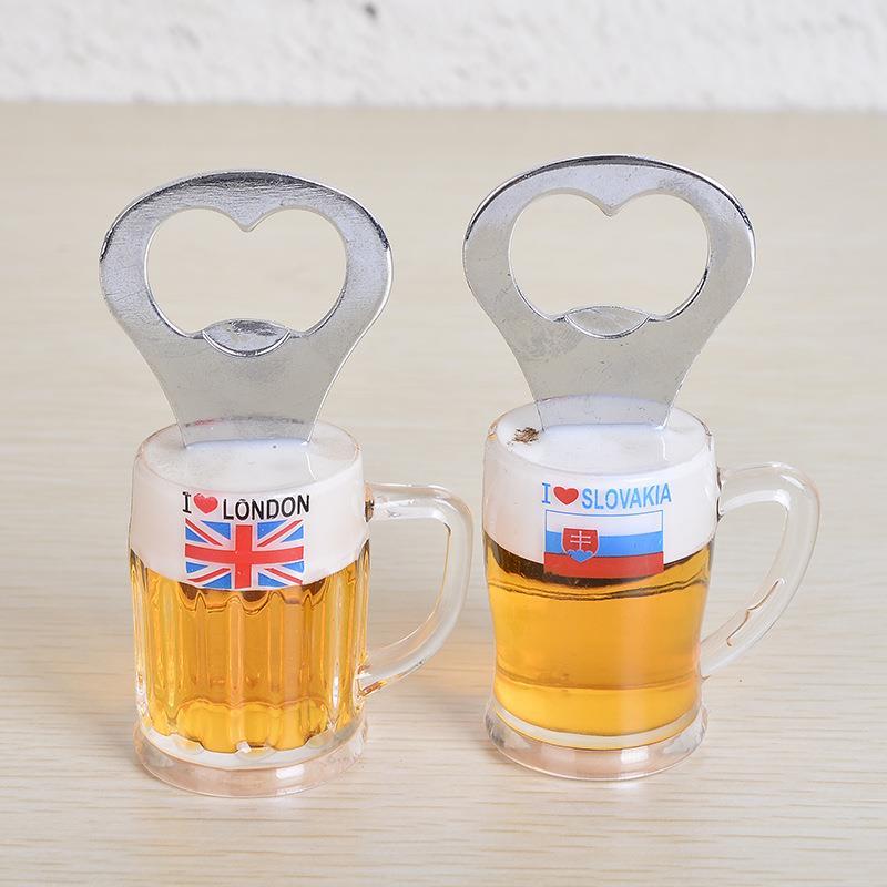 Custom Logo 3D Beer Glass Shaped Country Flag Souvenir Bottle Opener Fridge Magnet