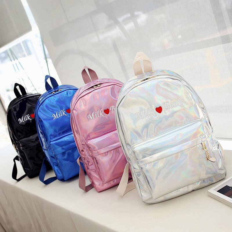 Fashion Women Backpack Silver Laser Hologram Shoulder PU School Bag