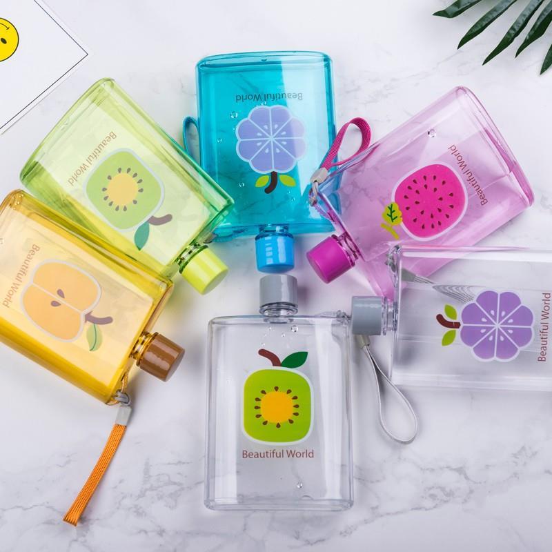 Free Sample 350ML Flat Water Bottle Plastic, Notebook Flat Water Bottle For Kids