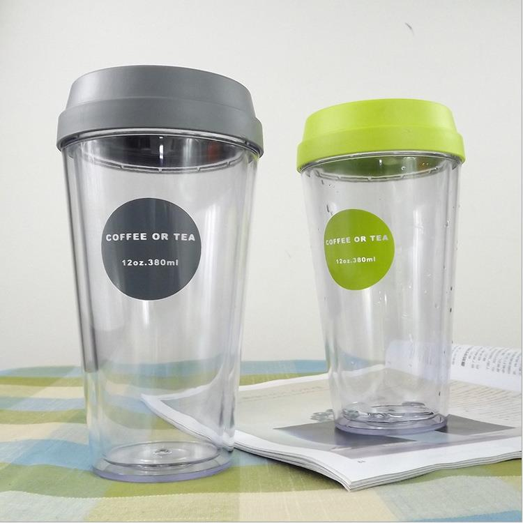 Custom Printed Logo High Quality PP AS Eco Plastic Double Wall Reusable Coffee Cup With Lid