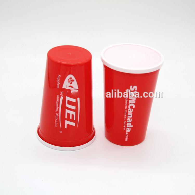 Promotional Custom Logo Plastic Stadium Cup with Lids