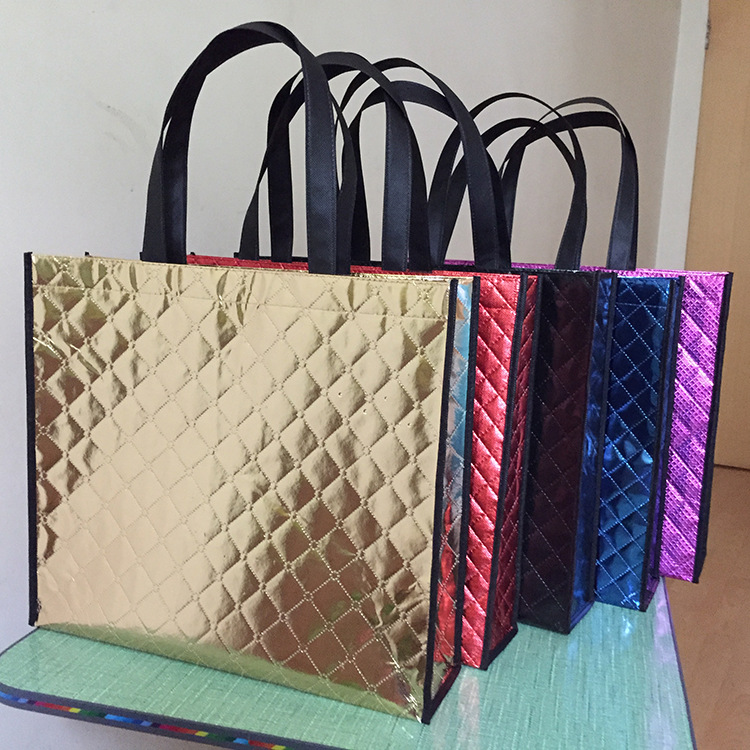 New design laser pp shopping bag,metallic plaid blue non-woven bag