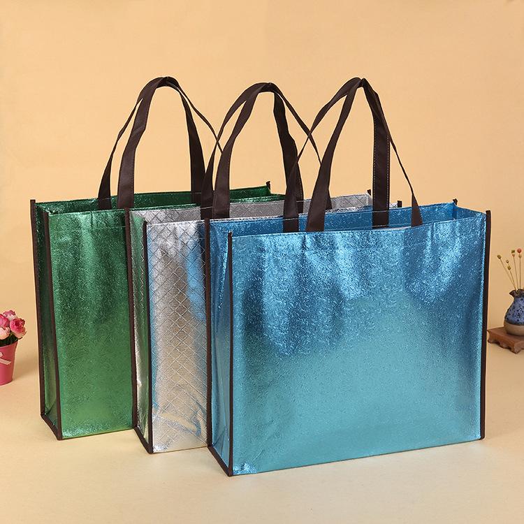 New quilting reusable shiny laser lamination non woven shopping bag