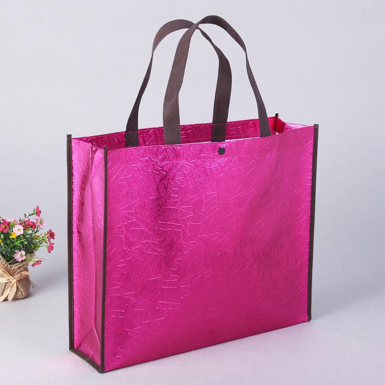 Custom logo Reusable Laminated Laser Non Woven Ladies Shopping Bag With Button