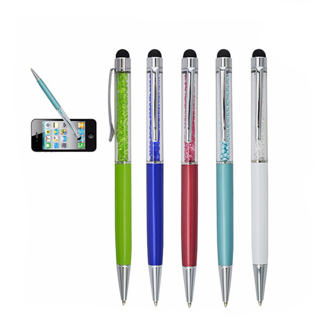 New design customized logo crystal diamond touch ball pen with replacement rubber tip stylus