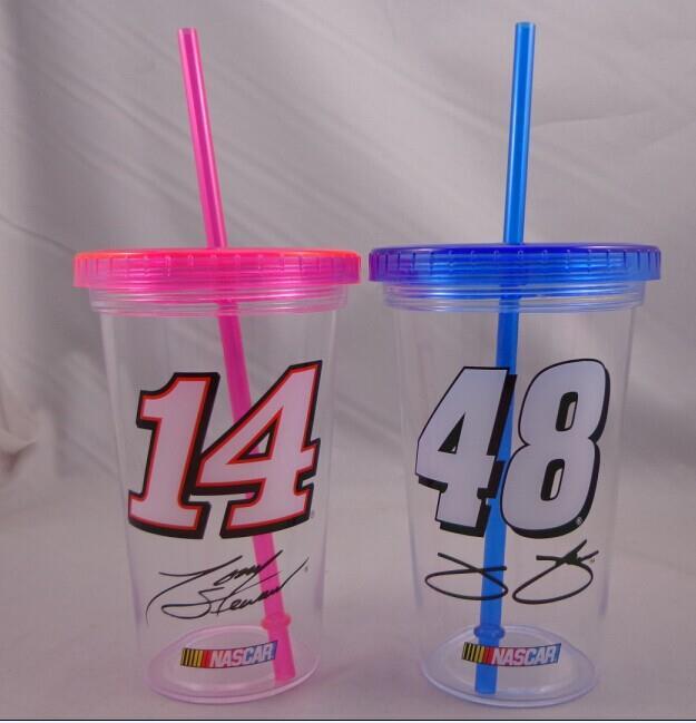 24 oz on 16 oz Single wall tumbler with straw Single wall cup