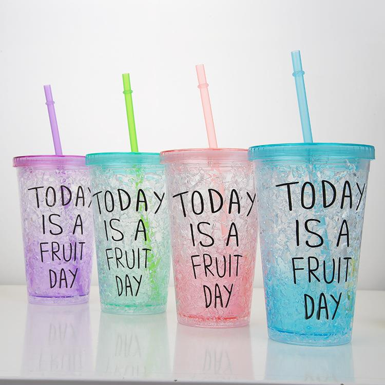 New Style Food Grade Double Wall 450ML Cute Bear Crushed Ice Freezer Gel Plastic PS Straw Cup