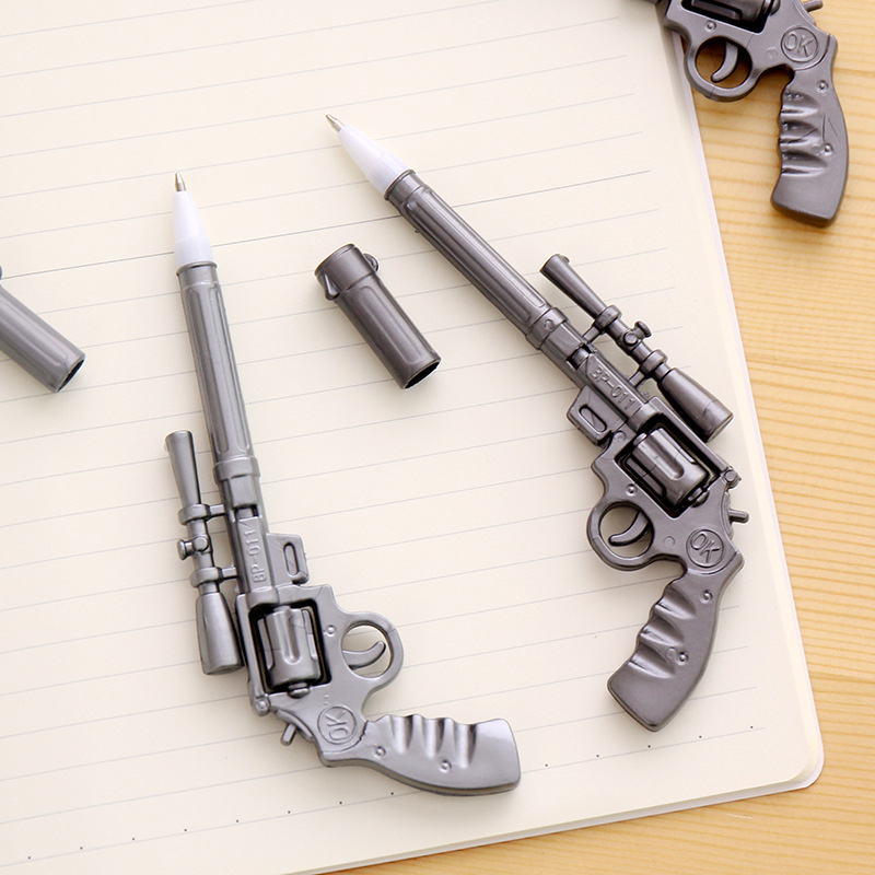 Creative Pistol Mode Silver Gray Plastic Pen