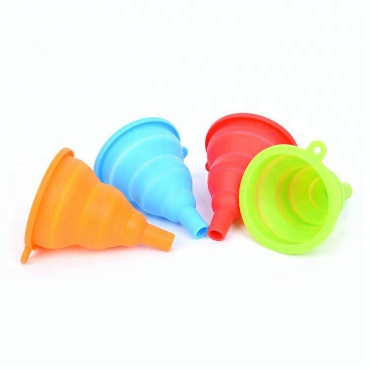 colorful silicone rubber foldable funnel
