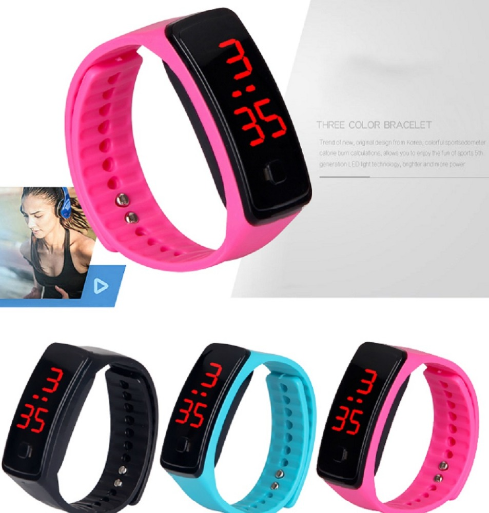 Silicone Band Watches Electronic LED Digital Outdoor Sport Wrist Watch Candy Colors Watches