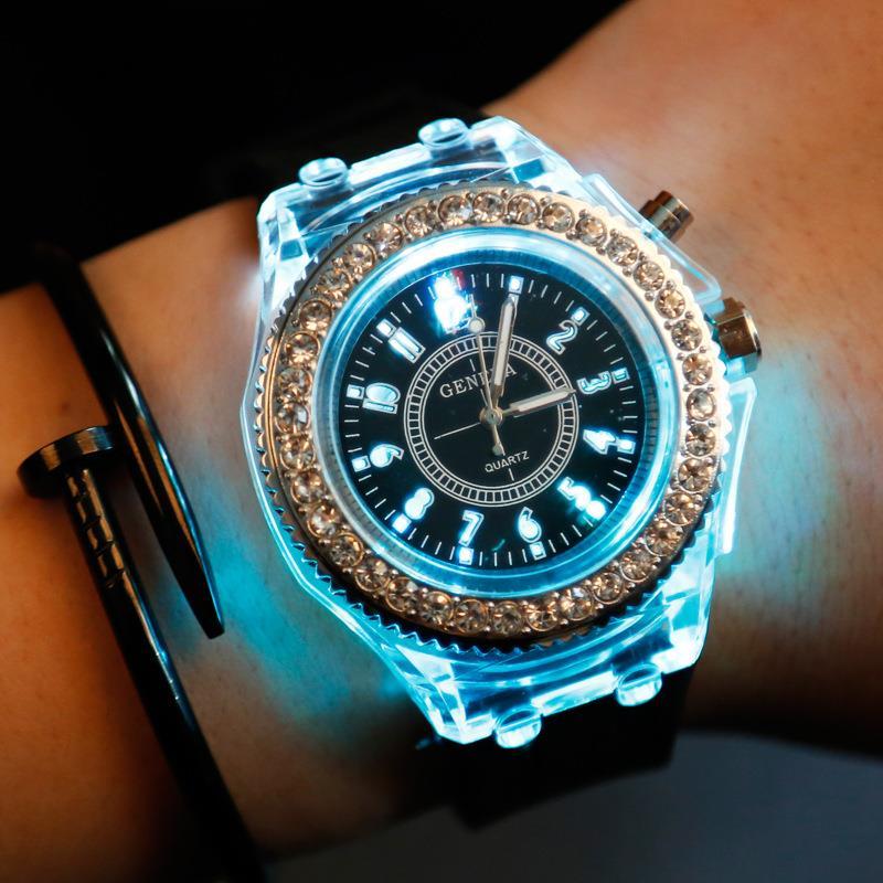 Women Men Sports Wrist Watch Luminous Led Quartz Analog Geneva Brand Fashion Diamond Silicone Watch
