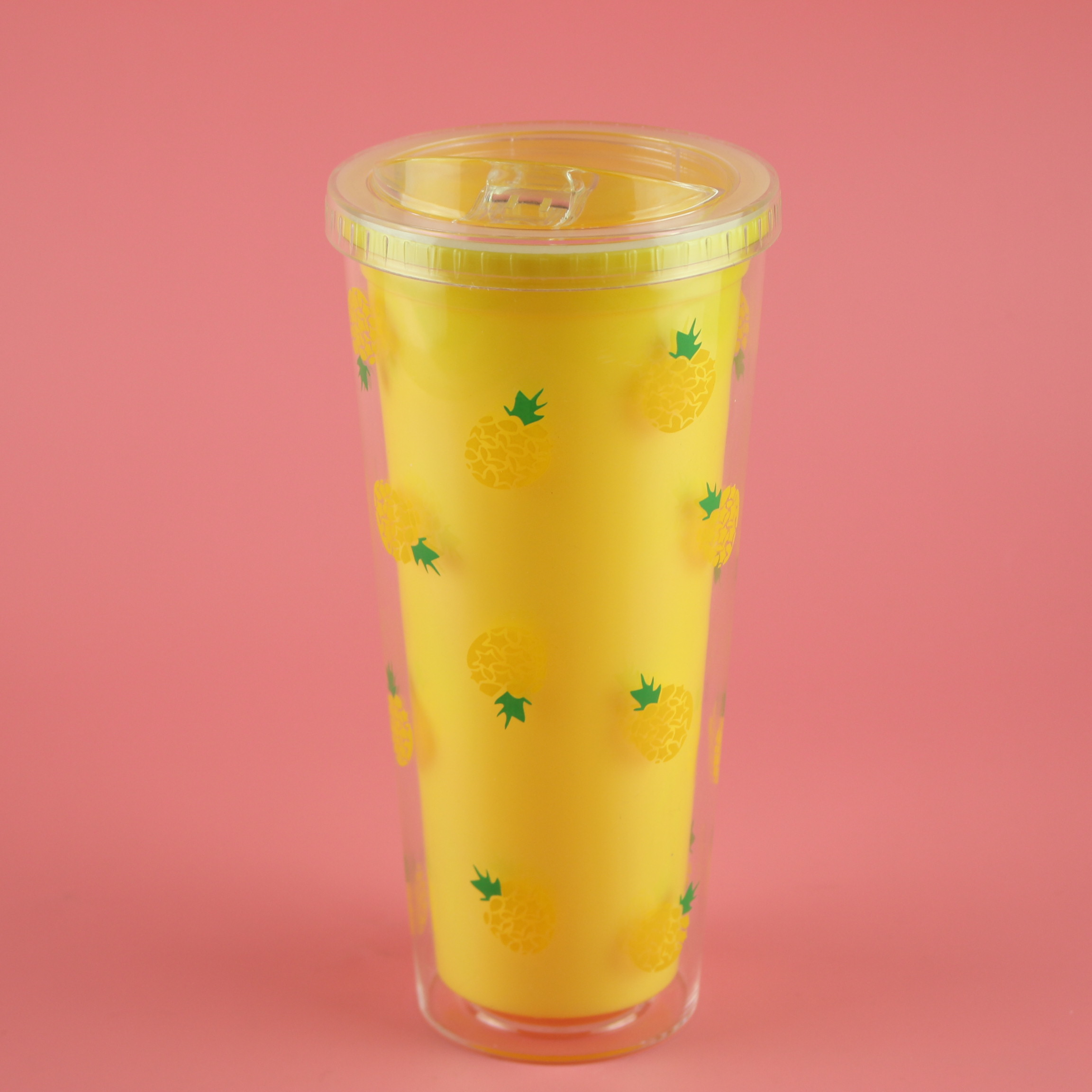 16oz Hard Large Mug Double Wall Plastic Cup with Lid and Straw