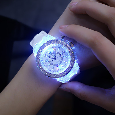 fashion glowing diamond led watch silicone quartz geneva led watch