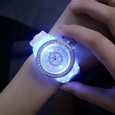 fashion glowing diamond led watch silicone quartz geneva led watch