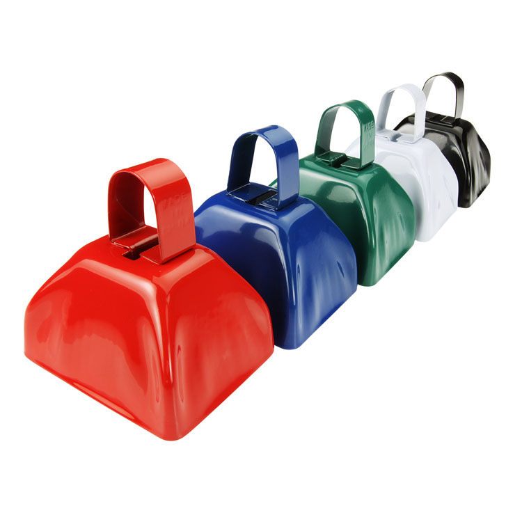 Colorful metal noisemaker cowbells with handle for promotion