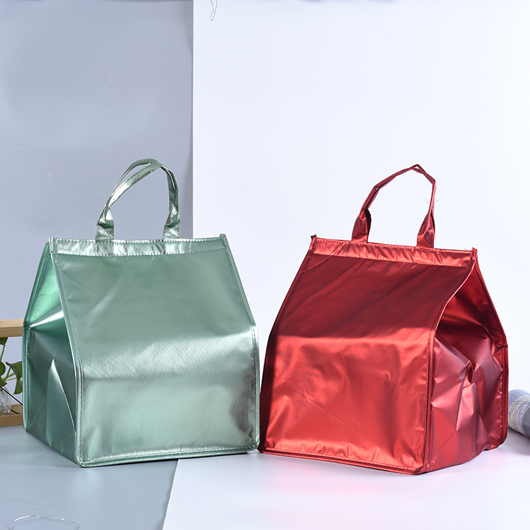 large non woven laminated lunch cooler bag/custom fashion tote cake cooler bag