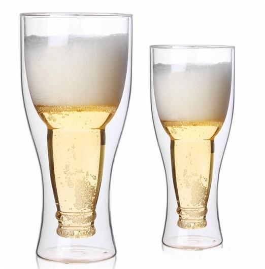 Wholesale Double Layer Glass Beer Cup Customized Available High Borosilicate Beer Glass Cup