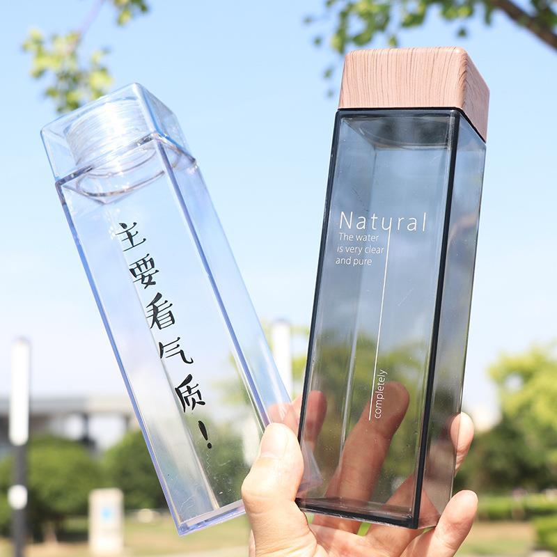 450ml square pillar design square shaped water bottle tritan water bottle