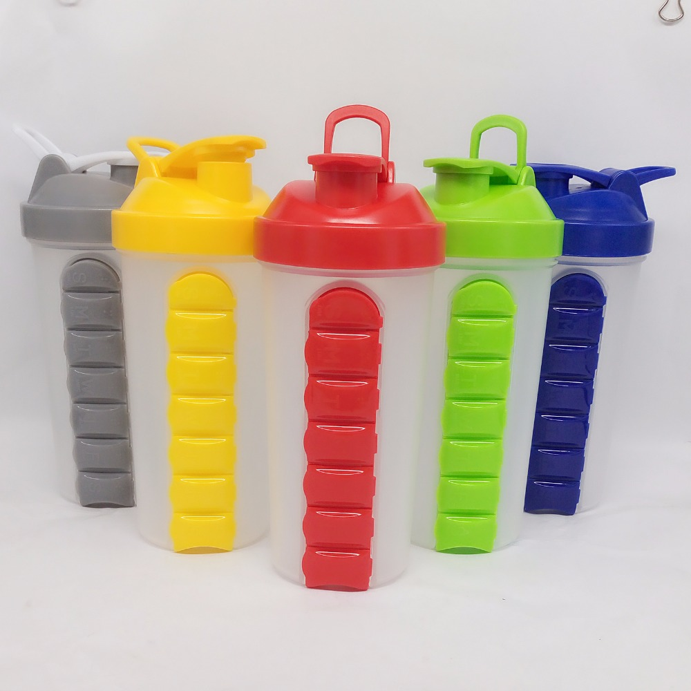 Plastic Shaker Water Bottle With 7 Day Pill Case Pill Box Pill Organizer