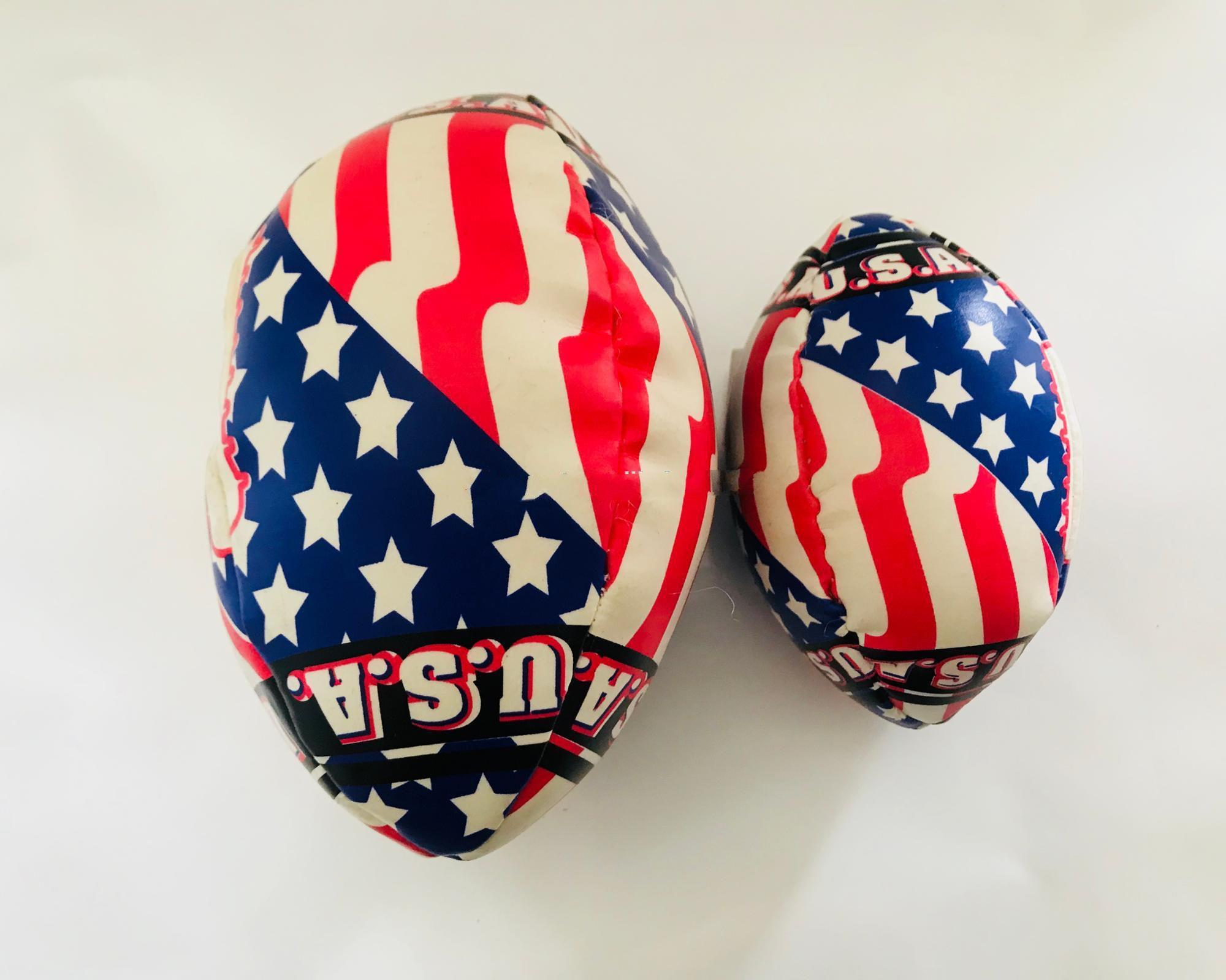 soft and leather american flag style football shape juggling ball kickball toys