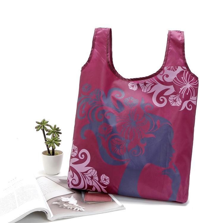 Fashion promotion nylon fabric foldable reusable polyester shopping bag