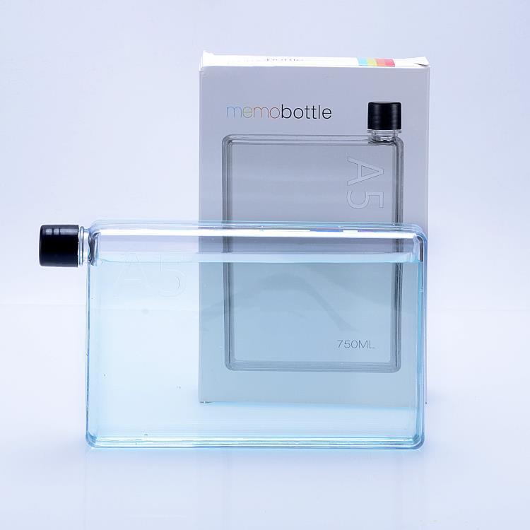 750ml notebook water bottle flat A5 plastic bottle