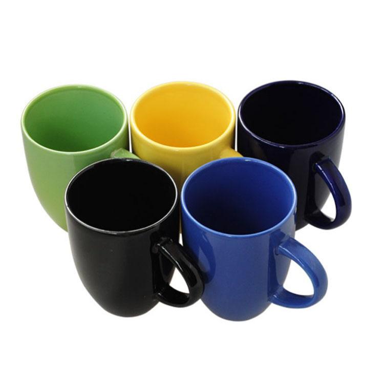 14OZ White Ceramic Coffee Mug with inside customize color
