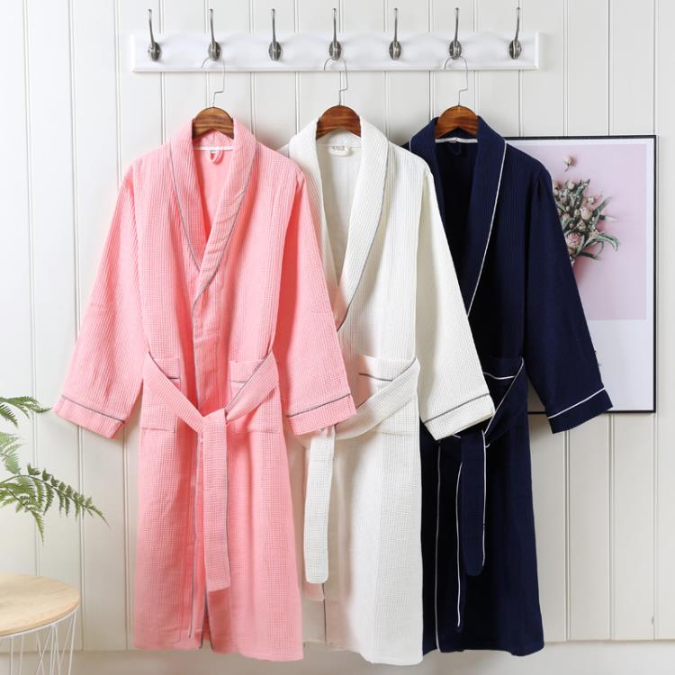 Soft White Honeycomb Hotel Waffle Bathrobe For Man