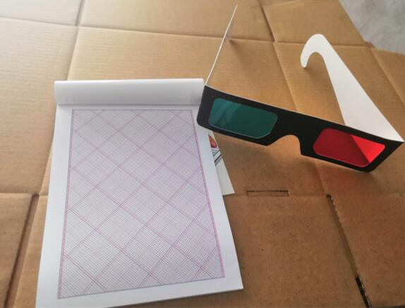 Red-cyan 3d glasses and drawing pad