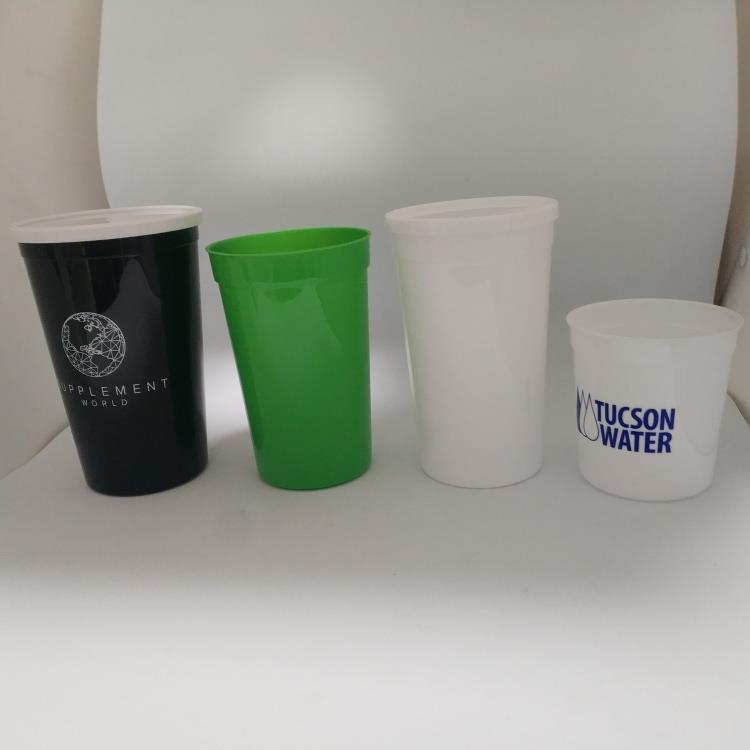 Colorful Plastic Stadium Cup With Lid
