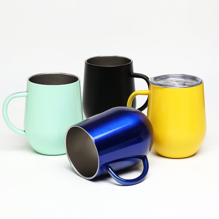 18/8 stainless steel drunk colored glass insulated coffee mug