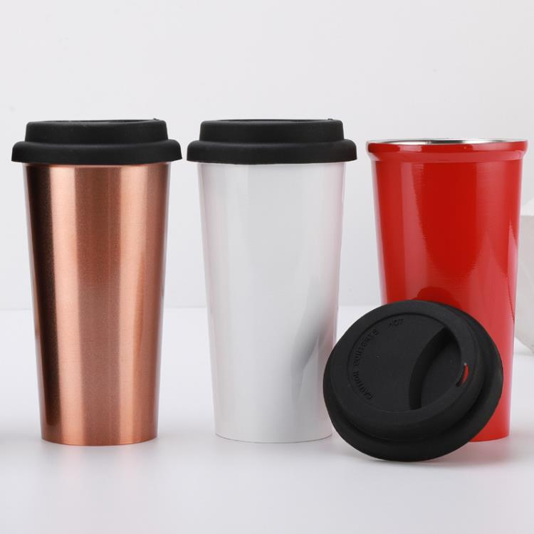 500ml Stainless Steel Double Wall Insulated Coffee Mug With Silicon Lid
