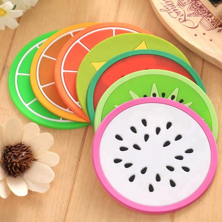 Custom Lovely Fruit Shape Plate Mat, PVC Rubber Cup Mat Coasters for Kids