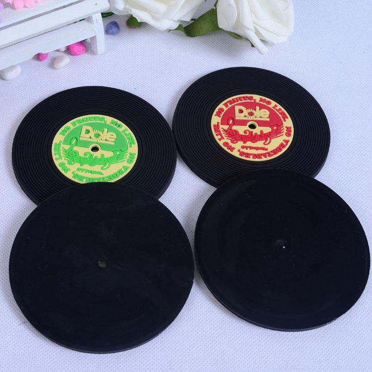 Manufacture record CD cup coaster custom soft pvc coaster