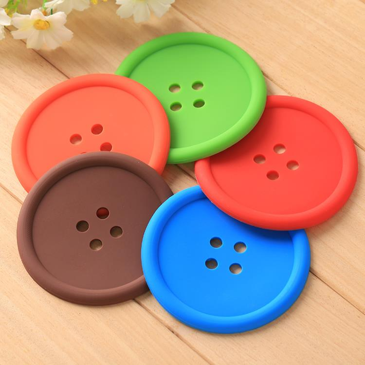 button shaped silicone mat cup coaster