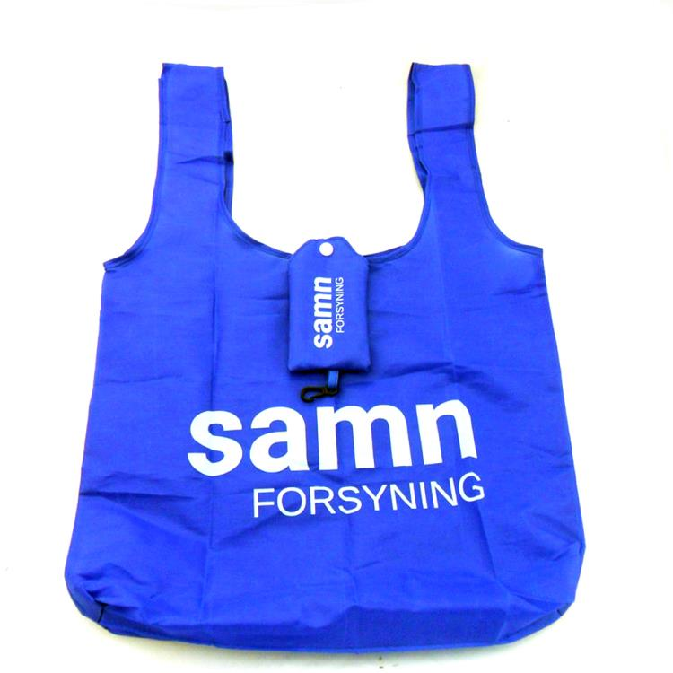 Promotional custom reusable folding polyester shopping bag foldable with pocket