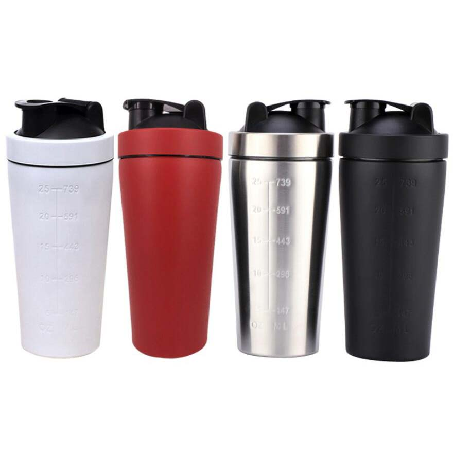 Wholesale Single wall Protein Shaker Bottle stainless steel with blender mixing net