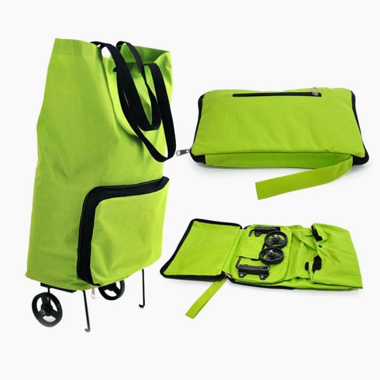 Polyester Reusable Foldable Nylon Custom Trolley Wheel Shopping Bag