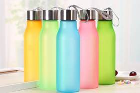 Wholesale Promotional Unbreakable Fashion Colorful Drinking Frosted Water Bottle Plastic Sport Bottles