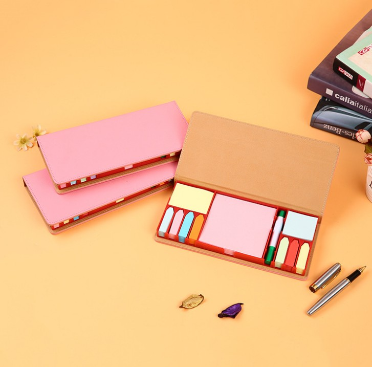 Sticky Note Memo Pad Set With PU Leather Box