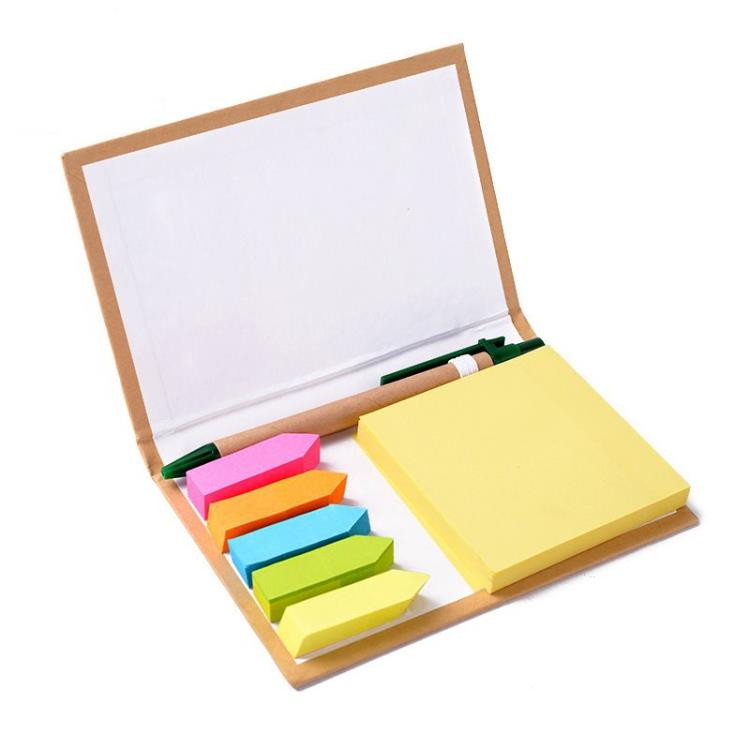 eco-friendly Kraft paper/PU/PVC cover sticky note pad with pen set